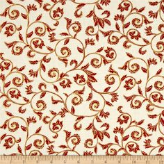 Noel Metallic Scroll Cream/Red from @fabricdotcom  Designed by Greta Lynn for Kanvas in association with Benartex, this cotton print is perfect for quilting, apparel and home decor accents. Colors include red and cream with gold metallic accents.