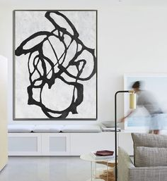 Large Abstract Art Hanmade Painting Minimalist by CelineZiangArt