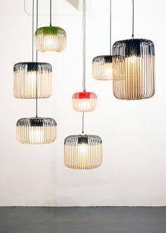 Scopri Sospensione Bamboo Light S Outdoor -/ H 23 x Ø 35 cm, Rosso / Naturale di Forestier, Made In Design Italia