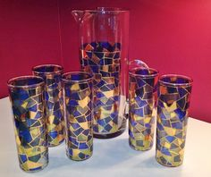 5 VINTAGE CULVER GEOMETRIC STAINED GLASS PATTERN HIGHBALL GLASSES AND PITCHER