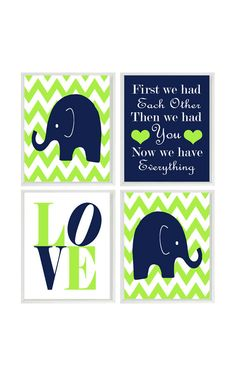 Elephant Nursery Art Navy Blue Lime Green by RizzleandRugee, $50.00