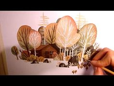 """Watercolor Illustration """"birchtree forest"""" - lineless style (with masking fluid) by Iraville - YouTube"""