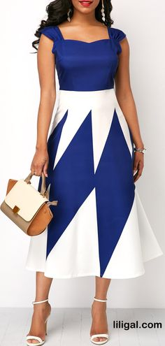 Wide Strap High Waist Printed Dress   #liligal #dresses #womenswear #womensfashion