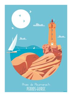 Illustrations Office de Tourisme Côte de granit rose All Poster, Movie Posters, Le Havre, Brittany, Vintage Posters, Illustrations, Around The Worlds, Ocean, France