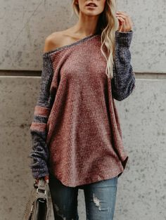 Skew Neck High Low T-shirt - COLORMIX S