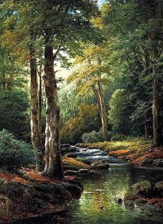 The Forest Stream - Counted cross stitch pattern in PDF format by Maxispatterns on Etsy