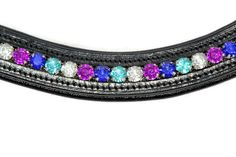 Bling Browbands. A beautiful custom made bling browband made of black leather and crystals. The browband is softly padded and wave shaped.