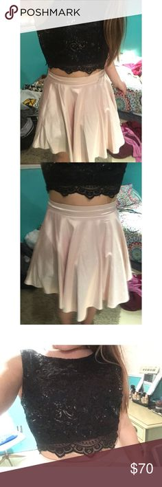 2pc Homecoming Dress •Black top with gorgeous design throughout,black lace on bottom •Pink silky skirt with ruffles underneath for volume  •This dress is a size 9 Dresses Prom