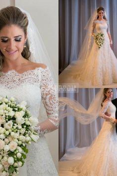 Lace Off-shoulder Long Sleeves Elegant Chapel Train Wedding Gown