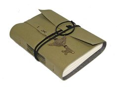 Green Vegan Faux Leather Journal with Winged Clock by boundbyhand, $25.00