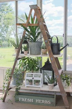 diy plant stand A ladder shelf is the ultimate. There are so many ways to use a ladder shelf! Take a peek at the most inspiring ladder shelf ideas. Antique Ladder, Vintage Ladder, Rustic Ladder, Rustic Industrial, Antique Desk, Ladder Shelf Decor, Ladder Shelves, Ladder Display, Wooden Ladder Decor