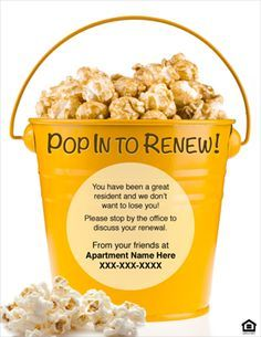 Pop Into Renew Your Lease Assorted Corn For Residents That Their In October And November