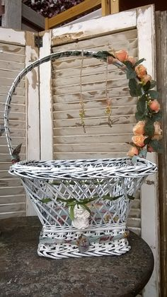 Cesto romantico Shabby Chic recupero creativo firmato M&M Art #lovemyjob #reinventare #White #chic #country