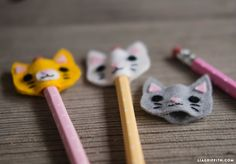 Monster and Kitty Felt Pencil Toppers