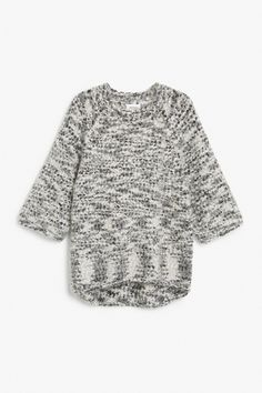 Monki Image 1 of Fuzzy sweater  in White