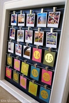 DIY Instagram Advent Calendar. Such a fun way to look back at highlights from the year while counting down the days till Christmas! Could also use as a countdown to a Disney Trip!