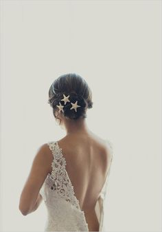 wedding hair with seashells- destinationweddinginparadise.com beach wedding updo