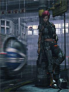 Cyberpunk, Future Girl, Urban, Dystopia, Futuristic Girl, Cyber Girl, Implant, Augmentation, Girl With Gun, Rainy day by *Sedorrr on deviantART