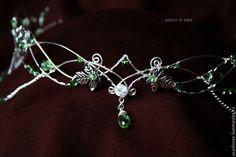 """Купить Диадема """"Эльфийская тропа"""" - серебряный, зеленый, диадема, венец, корона, эльф, Эльфийское украшение"""