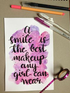 quotes From charlizzeyy Watercolor Calligraphy - quotes Watercolor Calligraphy Quotes, Calligraphy Quotes Doodles, Calligraphy Lessons, Brush Lettering Quotes, Doodle Quotes, Calligraphy Signs, Watercolor Quote, Calligraphy Handwriting, Hand Lettering Quotes