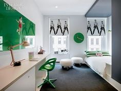 This boy's room features pop-art Elvis on the blinds, and bright kelly green all around. A bold pop-tastic space indeed!