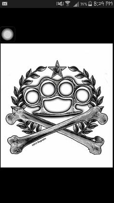 Brass knuckles tattoo design.
