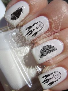 Nail Art Dreamcatcher Black Feathers Nail Water Decals by SWNails