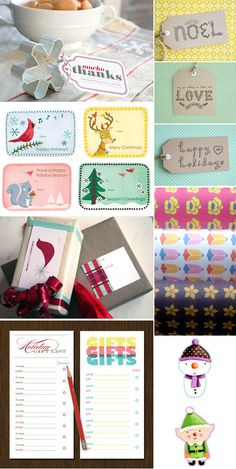 A bunch of FREE printable holiday gift tags, etc.