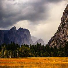 A rain storm moving into Yosemite Valley.