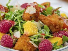 Ensalada de pollo con vinagreta de frambuesa