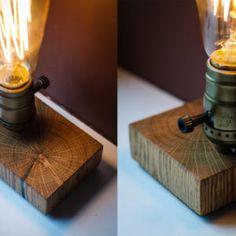 Wooden Edison Lamp made of Light Oak