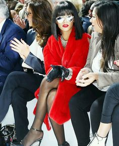 red fur coat + pearl necklace and bracelet + leather gloves /Rihanna