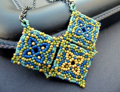 RESERVED - Mosaic Tile Beadwoven Necklace in Blue and Yellow *would make a great bracelet too