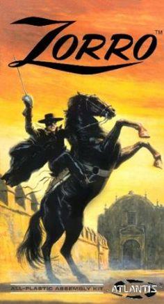 Aurora Zorro - This kit and The Lone Ranger and Polar Lights Headless Horseman are all based on the same horse kit, Aurora's White Stallion! Plastic Model Kits, Plastic Models, Atlantis, Zorro Costume, The Legend Of Zorro, The Mask Of Zorro, Westerns, Western Comics, The Lone Ranger