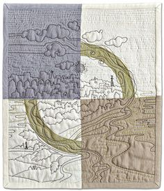 Stream of Consequences is showing at the Erie Museum of Art, Erie, NY, in the SAQA Earth Stories traveling exhibit, Jan. Free Motion Quilting, Hand Quilting, Machine Quilting, Thread Painting, Silk Painting, Whole Cloth Quilts, Quilt Festival, Quilt Stitching, Crewel Embroidery