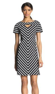 Gabby Skye Stripe Dress with Cutout Modest Dresses, Day Dresses, Dress Outfits, Casual Dresses, Fashion Outfits, Stripped Dress, Full Figure Fashion, Creation Couture, Ankara Dress
