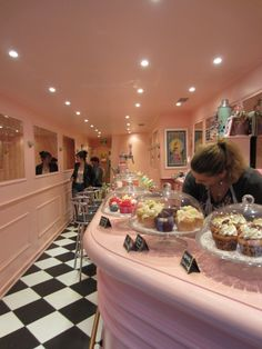 Adorable retro cupcake cafe in France. Wouldn't this be lovely in Mediapolis!
