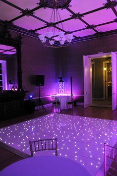 Our LED Purple Dance floor at Nonsuch Mansion available through Matt MauriceEventMusic