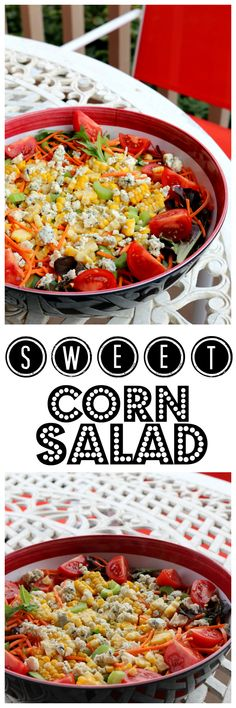 Sweet Corn Salad with Red Chile Vinaigrette - Summer is the best with lots of fresh vegetables like this super sweet corn salad! Perfect for your outdoor dinning experience.   Find this and 200+ Salads and Easy Homemade Dressings Recipes - Healthy Eating made easy!   CeceliasGoodStuff.com | Good Food for Good People