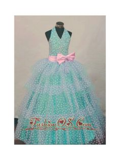 Bowknot Ball Gown Halter Top Turquoise And White Beading Little Girl Pageant Dresses Hottest  http://www.fashionos.com  http://www.facebook.com/quinceaneradress.fashionos.us  Featured by a halter-top neckline and fully beaded shoulder straps, the bodice is so lovely with an eyeful of sparkling beads and a big pink bow as embelishments. The well-regulated sparkling dots and floral beadwork throughout the multi layered organza skirt completes the look.