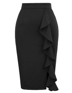GRACE KARIN Women's Ruffle Bodycon Knee Length Midi Pencil Skirt *** Visit the image link more details. (This is an affiliate link) Pencil Skirt Casual, Pencil Skirt Outfits, High Waisted Pencil Skirt, Pencil Skirts, Pencil Dress, Dress Outfits, Outfit Vestidos, Maxi Dresses, Grace Karin