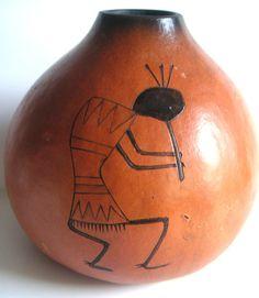 Vintage Decorative Gourd by D.R. Nance Kokopelli Flute by QVintage, $100.00