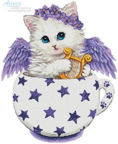 Angel Kitty Cup cross stitch chart from Artecy Cross Stitch Cat Cross Stitches, Counted Cross Stitch Patterns, Cross Stitch Charts, Cross Stitch Embroidery, Cat Coloring Page, Cat Character, Hand Embroidery Patterns, Cat Art, Teacup Kitten