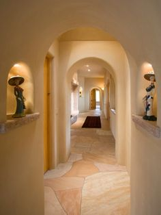 Sensational Adobe Home Design for Living : Beautiful Hall Decor Marble Flooring Adobe Home In New Mexico