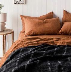 Burnt Orange Bedroom, Burnt Orange Comforter, Orange Bed Sheets, Orange Bedding, Dream Bedroom, Home Bedroom, Master Bedroom, Bedrooms, Fall Bedroom Decor