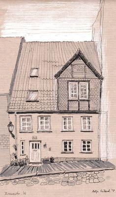 Baumstraße16. Ink sketch on craft paper by Antje Gilland.