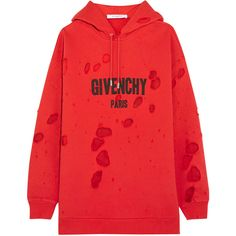 Givenchy Distressed chiffon-paneled cotton-jersey hooded sweatshirt ($1,160) ❤ liked on Polyvore featuring tops, hoodies, givenchy, red, distressed hoodie, ripped hoodie, red hooded sweatshirt, chiffon tops and oversized hoodie