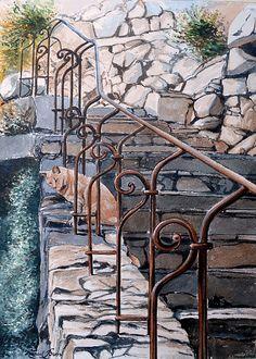 Chat sur un escalier en pierre