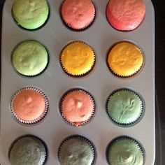 Today we are going to make colorful  mini-cupcakes! After oven...