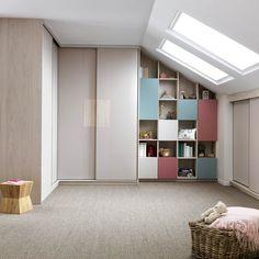 Schmidt garderobe og livinge I Model: Arcos & Loft Teen Bedroom, Shelving, Bookcase, Loft, Design, Home Decor, Model, Shelves, Lofts